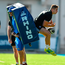 Jordan Larmour in action with backs coach Felipe Contepomi recently during Leinster training at Energia Park. Photo by Brendan Moran/Sportsfile
