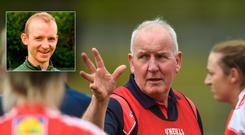 Darren Bishop (inset) tok over as Louth boss following the tragic passing of Michéal McKeown