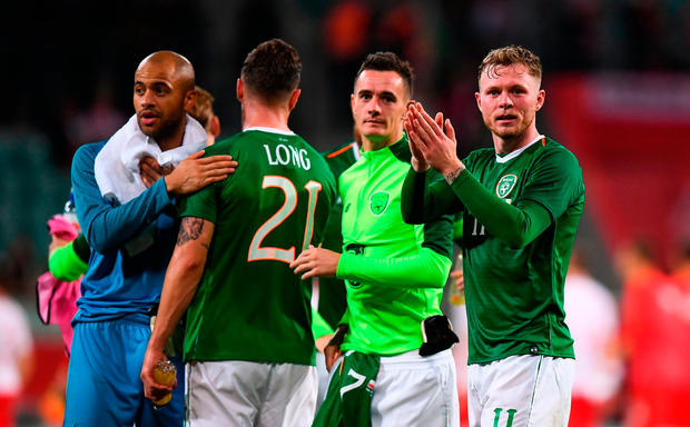 Aiden O'Brien of Republic of Ireland and his team-mates following the Poland friendly