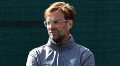 Liverpool manager Jurgen Klopp looks on during training at Melwood ahead of tomorrow's clash against Tottenham. Photo: Getty Images