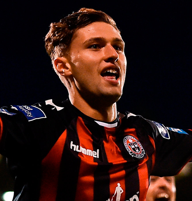 Eoghan Stokes celebrates after scoring for Bohemians against Shamrock Rovers in Tallaght. Photo: Sportsfile