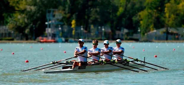 Ireland team, from left, Andrew Goff, Jacob McCarthy, Ryan Ballantine and Fintan McCarthy make their way to the start prior to their Lightweight Men's Quadruple Sculls final on day six of the World Rowing Championships in Plovdiv, Bulgaria. Photo by Seb Daly/Sportsfile