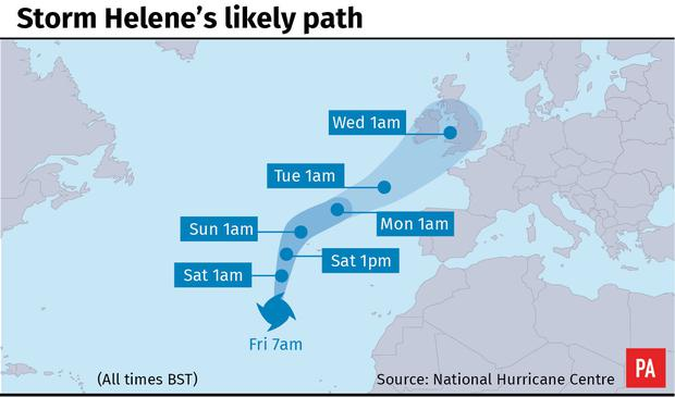 Storm Helene's likely path (PA Graphics)