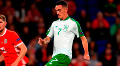 Shaun Williams scores on his Ireland debut against Wales, before performing impressively in the friendly against Poland. Photo: Mike Egerton/PA