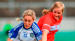 Cork's Roisin Phelan (right) – here in action against Ciara McAnespie of Monaghan – will backbone the Rebelettes' defence against Dublin tomorrow. Photo: Eóin Noonan/Sportsfile