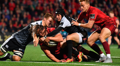 Arno Botha scores Munster's side's sixth try during their Guinness PRO14 victory over Ospreys at Irish Independent Park. Photo: Sportsfile