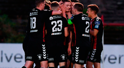 Bohemians players celebrate after Daniel Kelly scored their second goal