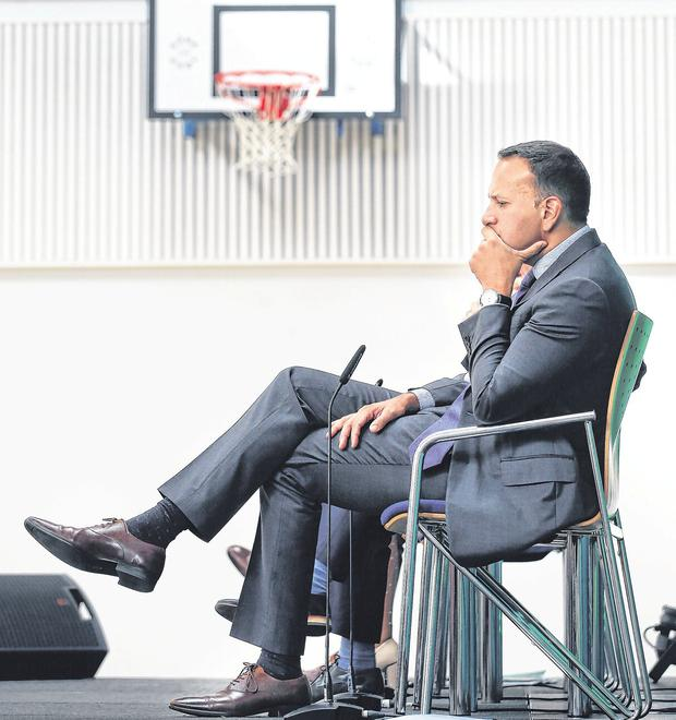Floundered since May: Leo Varadkar looks on at Coláiste Ghlór na Mara in Balbriggan yesterday after announcing a multi-billion euro investment in Education as part of Project Ireland 2040. Photo: Steve Humphreys