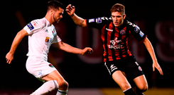 Cork City's Jimmy Keohane in action against Oscar Brennan of Bohemians. Photo: Stephen McCarthy/Sportsfile