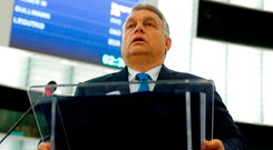Defiant: Hungarian Prime Minister Viktor Orban delivers a speech at the European Parliament in Strasbourg, France. Photo: Getty