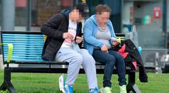 Shocking: Open drug activity seen in the middle of Ballymun, Dublin, this week. Photo: Justin Farrelly