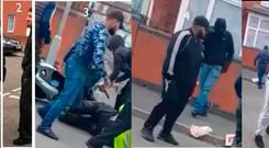 Five men that police are looking to trace after a traffic warden was attacked and had his moped stolen Credit: West Midlands Police/PA Wire