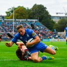 15 September 2018; Jordan Larmour of Leinster goes over to score his side's fourth try during the Guinness PRO14 Round 3 match between Leinster and Dragons at the RDS Arena in Dublin. Photo by Brendan Moran/Sportsfile