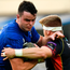 Leinster's James Ryan is tackled by Aaron Wainwright during the PRO14 match at the RDS Arena yesterday. Photo: Sportsfile