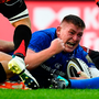Leinster's Tadhg Furlong celebrates after scoring his side's seventh try. Photo: Sportsfile