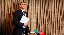 Dr Gabriel Scally delivering is damning report at Buswells Hotel in Dublin last week. Picture: RollingNews.ie
