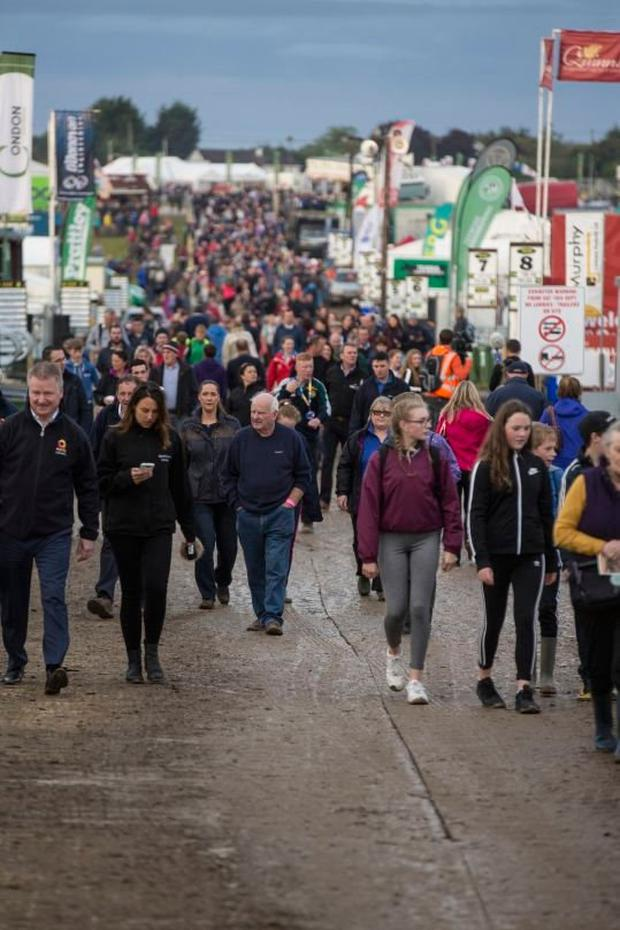 Bring your wellies: Crowds arriving on the first day of the National Ploughing Championships in Co Offaly last year. Picture: Mark Condren