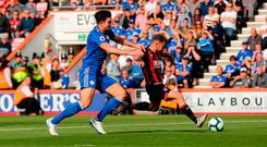 Bournemouth's Ryan Fraser scores his side's second goal. Photo: Mark Kerton/PA Wire