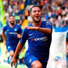 Chelsea's Eden Hazard celebrates scoring. Photo: Victoria Jones/PA Wire