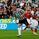 Newcastle United's Ciaran Clark celebrates scoring their first goal. Photo: Lee Smith/Action Images via Reuters