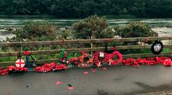 Undated handout photo issued by the Memorial to the Narrow Water Massacre of desecrated wreaths at the site of the IRA murder of 18 soldiers at Narrow Water, near Warrenpoint in Co Down. Police are treating the act of vandalism as a hate crime. PRESS ASSOCIATION Photo. Issue date: Sunday September 16, 2018. See PA story ULSTER Memorial. Photo credit should read: Memorial to the Narrow Water Massacre/PA Wire NOTE TO EDITORS: This handout photo may only be used in for editorial reporting purposes for the contemporaneous illustration of events, things or the people in the image or facts mentioned in the caption. Reuse of the picture may require further permission from the copyright holder.