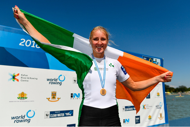 16 September 2018; Sanita Puspure of Ireland celebrates following her victory in the Women's Single Sculls Final on day eight of the World Rowing Championships in Plovdiv, Bulgaria. Photo by Seb Daly/Sportsfile