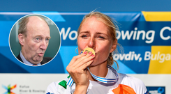 Shane Ross (inset) and Sanita Puspure (right) with her gold medal.