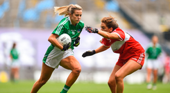 16 September 2018; Rebecca Delee of Limerick in action against Eimear Byrne of Louth during the TG4 All-Ireland Ladies Football Junior Championship Final match between Limerick and Louth at Croke Park, Dublin. Photo by David Fitzgerald/Sportsfile