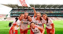 Tyrone players celebrate following the TG4 All-Ireland Ladies Football Intermediate Championship Final