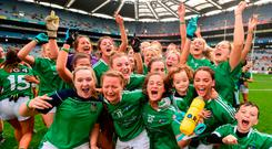Limerick players celebrate following their victory in Croke Park yesterday. Photo by David Fitzgerald/Sportsfile