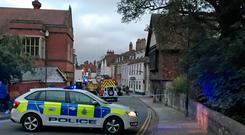 Handout photo taken with permission from the Twitter feed of Sam Proudfoot @samproudy01 of emergency services in Salisbury after two people fell ill in a Prezzo restaurant in the city, Wiltshire Police said: Sam Proudfoot/PA Wire