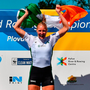 GOLDEN GIRL: Sanita Puspure of Ireland celebrates on the podium following her victory in the Women's Single Sculls Final in the World Rowing Championships in Plovdiv. Photo: Seb Daly/Sportsfile