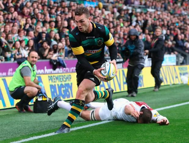 Dominic Ryan prevents George North from scoring a try last season but, despite suffering a head injury, told medics that he was just winded. Photo: David Rogers/Getty Images