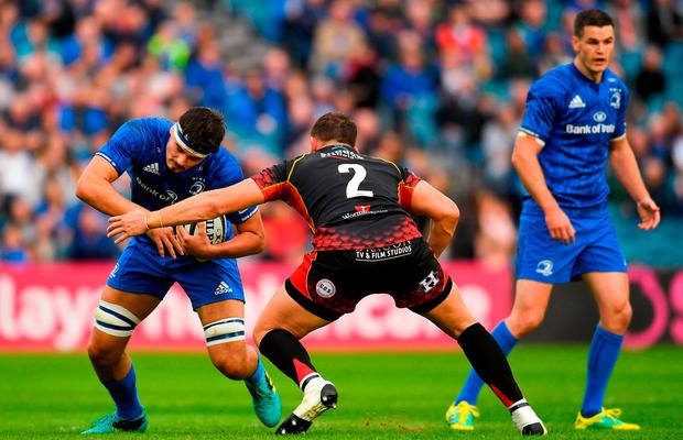 Max Deegan of Leinster in action against Elliot Dee of Dragons. Photo: Harry Murphy/Sportsfile