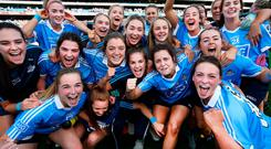 Blue Heaven: Dublin celebrate back-to-back All-Irelands after their win over Cork in the ladies' football Championship final in front of a crowd of more than 50,000 in Croke Park. Photo: Steve Humphreys