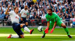 Harry Kane endured an afternoon of frustration during Tottenham's defeat against Liverpool. Photo: Reuters/Paul Childs