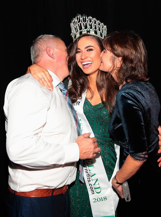 Aoife O'Sullivan with her parents Michael and Liz as she is crowned Miss Ireland 2018. Picture: Brian McEvoy