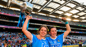 16 September 2018; Noelle Healy and Lyndsey Davey of Dublin celebrate with the Brendan Martin Cup following the TG4 All-Ireland Ladies Football Senior Championship Final match between Cork and Dublin at Croke Park, Dublin. Photo by Sam Barnes/Sportsfile