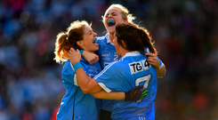 16 September 2018; Dublin players, from left, Sinéad Finnegan, Amy Connolly and Niamh Collins celebrate at the final whistle of the TG4 All-Ireland Ladies Football Senior Championship Final match between Cork and Dublin at Croke Park, Dublin. Photo by Brendan Moran/Sportsfile