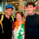 Gary, left, and Paul O'Donovan of Team Ireland with their grandmother Mary Dobe on their return from the World Rowing Championships in Bulgaria at Cork Airport in Cork. Photo by Eóin Noonan/Sportsfile
