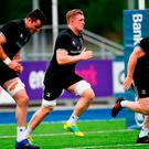 Dan Leavy (centre) pictured during Leinster squad training at Energia Park in Donnybrook, Dublin. Photo: Ramsey Cardy/Sportsfile