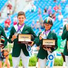 Irish Eventers Sam Watson, Cathal Daniels, Sarah Ennis and Padraig McCarthy with their silver medals at the World Equestrian Games in Tryon, United States yesterday. Photo: Getty Images