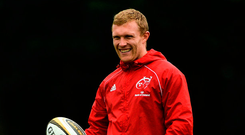 Keith Earls in relaxed mood at training. Photo: Sportsfile