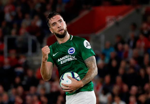 Brighton's Shane Duffy celebrates scoring their first goal