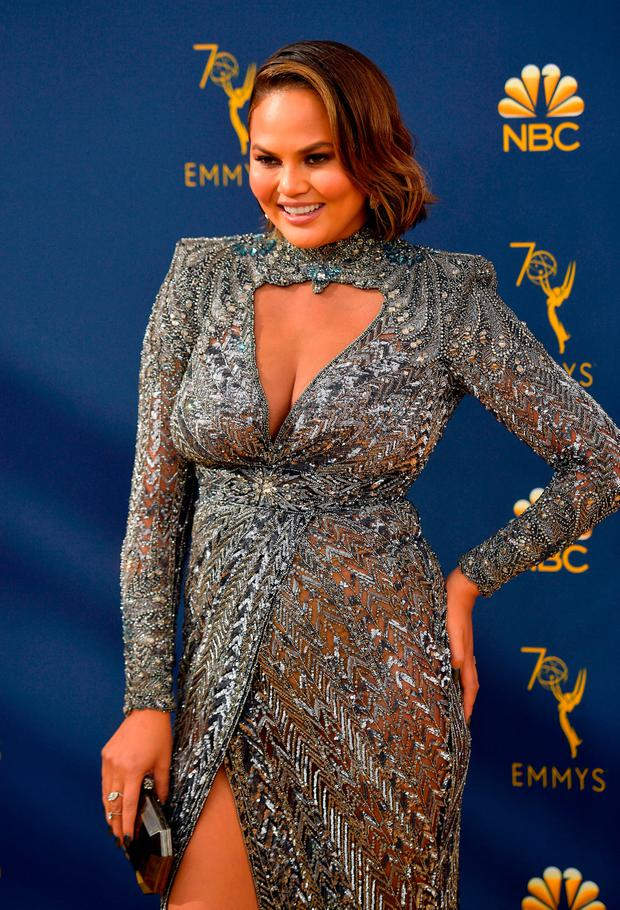 Chrissy Teigen attends the 70th Emmy Awards at Microsoft Theater on September 17, 2018 in Los Angeles, California. (Photo by Matt Winkelmeyer/Getty Images)