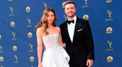 Lead actress in a limited series or movie nominee Jessica Biel and Justin Timberlake arrive for the 70th Emmy Awards at the Microsoft Theatre in Los Angeles, California on September 17, 2018. (Photo by VALERIE MACON / AFP)