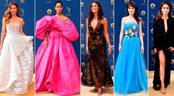 (L to R) Jessica Biel, Tracee Ellis Ross, Mandy Moore, Michelly Dockery and Keri Russell at the 2018 Emmys