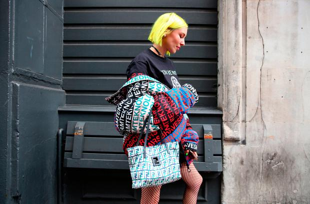 Fashion Stylist Blogger Kitty Cowell (@kittycowell) wears Diesel, Fendi, Noah and Fila during the London Fashion Week September 2018 after the NICOPANDA show