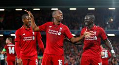 Soccer Football - Champions League - Group Stage - Group C - Liverpool v Paris St Germain - Anfield, Liverpool, Britain - September 18, 2018 Liverpool's Daniel Sturridge celebrates scoring their first goal with Georginio Wijnaldum and Sadio Mane REUTERS/Phil Noble