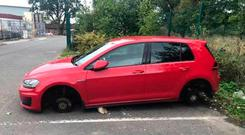 The wheels were stolen from a nurse's car while she was at work Photo: PSNI